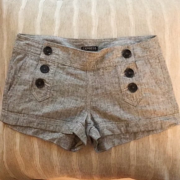 Express Pants - Grey Textured Button Shorts from Express